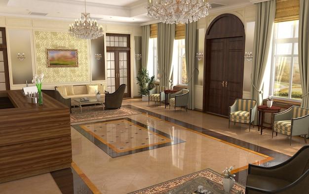 Hall, hall dell'hotel, visualizzazione degli interni, illustrazione 3d