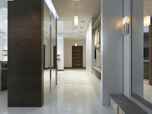 Ingresso con corridoio in stile contemporaneo con armadio e armadio scorrevole. rendering 3d.