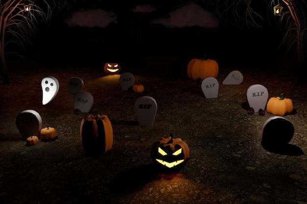 Rendering 3d di halloween del cimitero con zucche luminose di halloween jack-o-lantern, fantasma, alberi e tombe. vacanze autunnali.