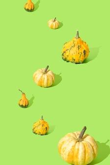 Sfondo di halloween zucche disposte in uno schema su uno sfondo verde autunno ottobre concept
