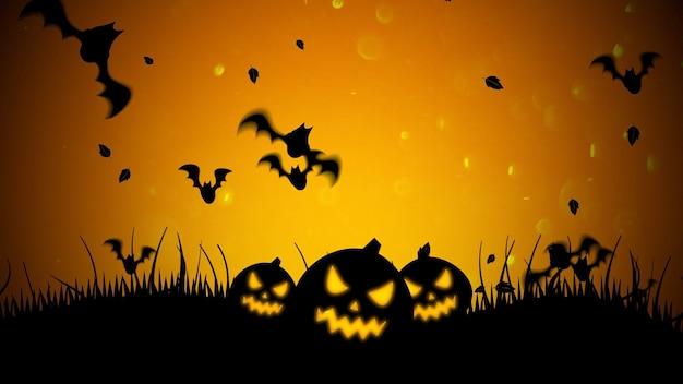 Sfondo di halloween con i pipistrelli e le zucche. sfondo astratto felice vacanza. illustrazione 3d di stile lussuoso ed elegante per il modello di vacanza