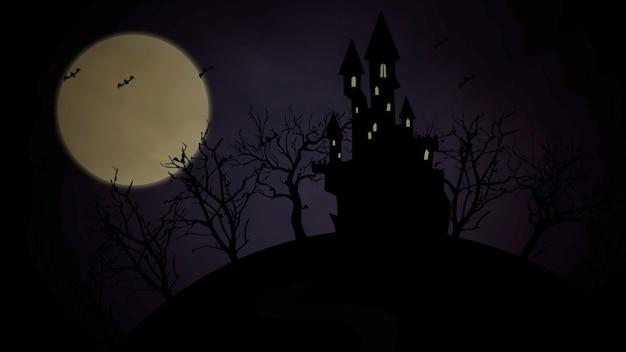 Sfondo di halloween con il castello e la luna. sfondo astratto felice vacanza. illustrazione 3d di stile lussuoso ed elegante per il modello di vacanza