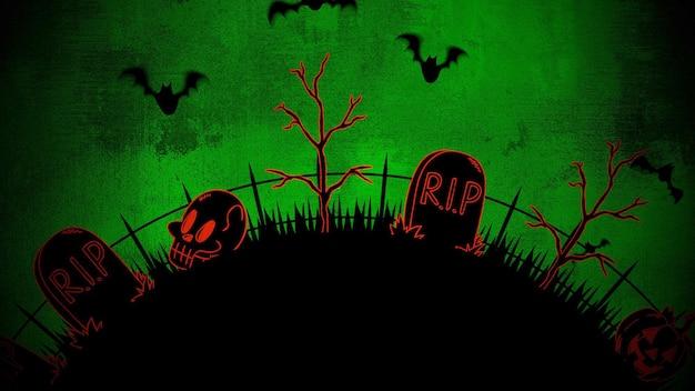 Sfondo di halloween con bare, zucche, alberi, pipistrelli, teschi. sfondo astratto felice vacanza. illustrazione 3d di stile lussuoso ed elegante per il modello di vacanza
