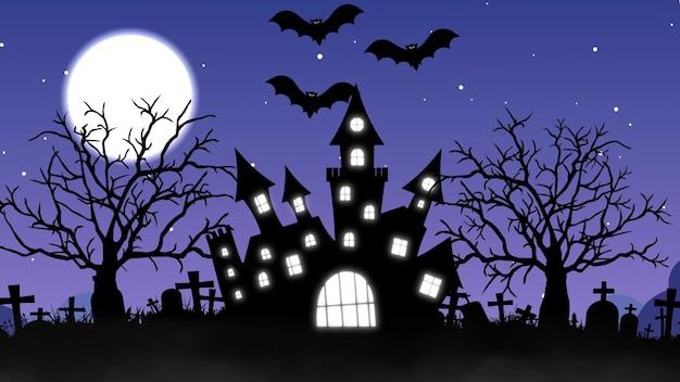 Sfondo di halloween con il concetto di castello infestato, luna e pipistrelli. rendering 3d.