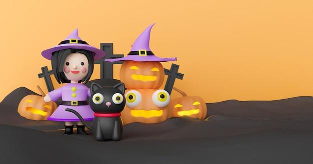 Sfondo di halloween con zucca e strega rendering 3d.
