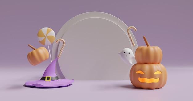 Sfondo di halloween con zucche, fantasma carino e spazio per il testo.