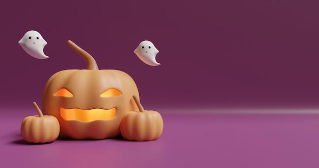 Priorità bassa di halloween con le zucche e i fantasmi svegli ,.