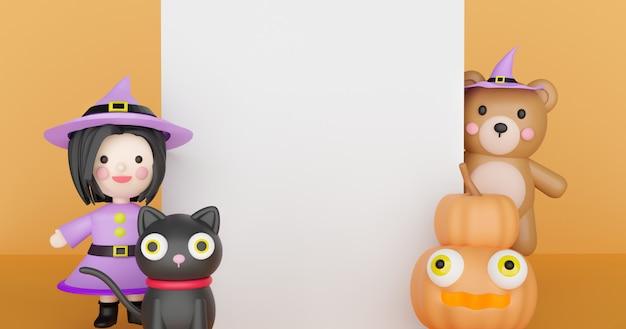 Sfondo di halloween con zucche e strega. rendering 3d