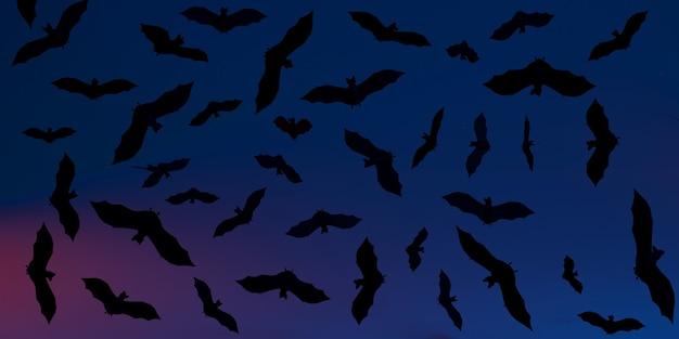 Banner di halloween con illustrazione 3d di pipistrelli sfondo