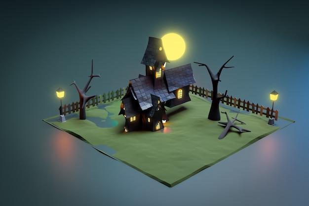 Castello nero di halloween nella scena notturna, rendering dell'illustrazione 3d