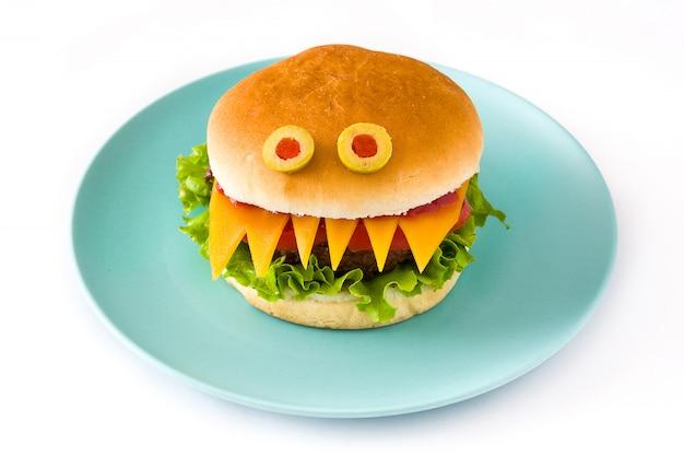 Mostro di hamburger di halloween isolato su bianco