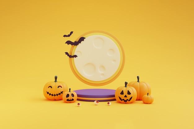 Concetto di halloween, podio per l'esposizione del prodotto con il chiaro di luna, carattere di zucche, bulbo oculare, bat.on sfondo giallo. rendering 3d.