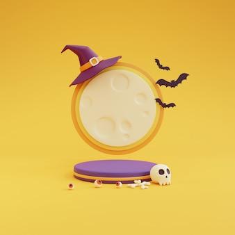 Concetto di halloween, podio per la visualizzazione del prodotto con il chiaro di luna che indossa cappello da strega, teschio, osso, bulbo oculare, pipistrello su sfondo giallo. rendering 3d.