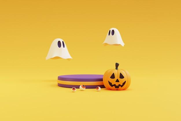 Concetto di halloween, podio per l'esposizione del prodotto con carattere di zucche, fantasma e decorazioni. su sfondo giallo. rendering 3d.