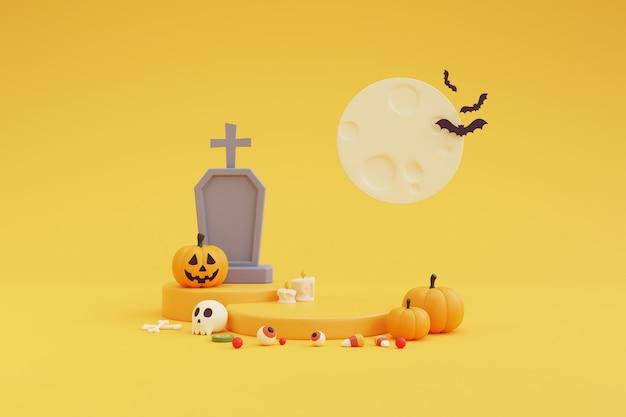 Concetto di halloween, podio per esposizione del prodotto con carattere di zucche, pietra tombale, bulbo oculare, teschio, osso, caramelle al chiaro di luna. su sfondo giallo. rendering 3d.