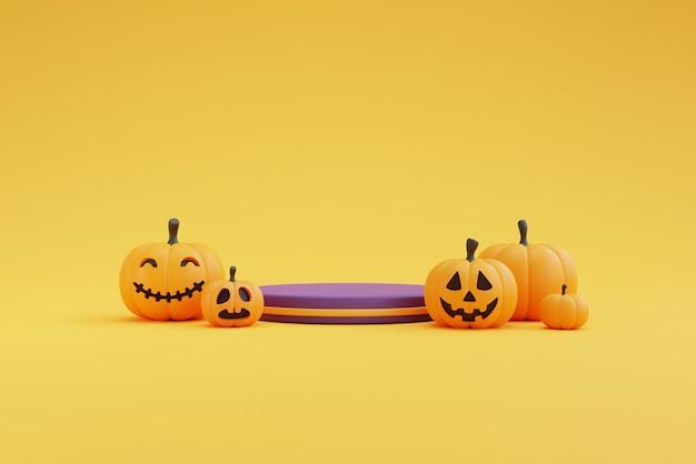 Concetto di halloween, podio per l'esposizione del prodotto con personaggi e decorazioni di zucche. su sfondo giallo. rendering 3d.