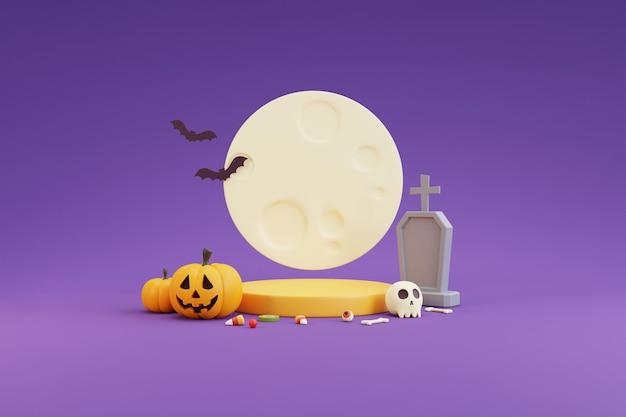 Concetto di halloween, podio per la visualizzazione del prodotto con personaggi di zucche, pietra tombale, bulbo oculare, teschio, ossa, caramelle e al chiaro di luna. su sfondo viola. rendering 3d.