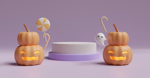 Giorno di halloween con zucche e simpatici fantasmi