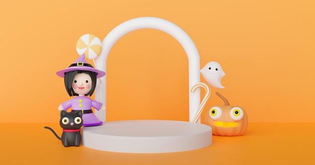 Giorno di halloween con zucche, streghe, fantasmi carini e podio per il rendering 3d del prodotto