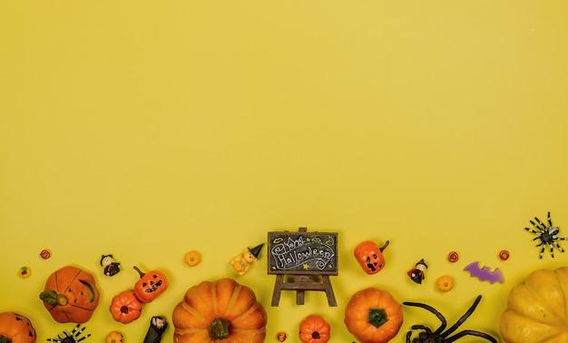 Decorazione di halloween. dolcetto o scherzetto in autunno e stagione autunnale. faccia di zucca e simbolo spaventoso