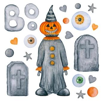 Spaventapasseri disegnati a mano della lapide della raccolta dell'acquerello degli elementi di halloween