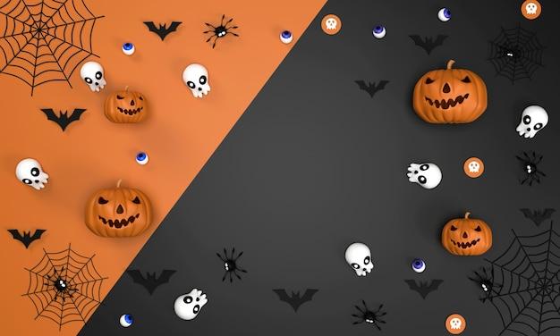 Sfondo del festival di halloween su sfondo arancione e nero zucca di hallween