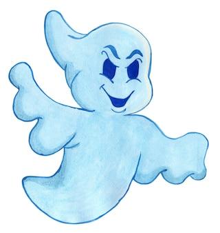 Fantasma di halloween con un aspetto malvagio un dolcetto o un trucco illustrazione ad acquerello isolata su bianco