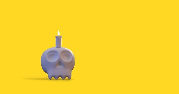 Illustrazione di rendering 3d di progettazione grafica minima di orrore spaventoso del cranio dell'osso umano di halloween
