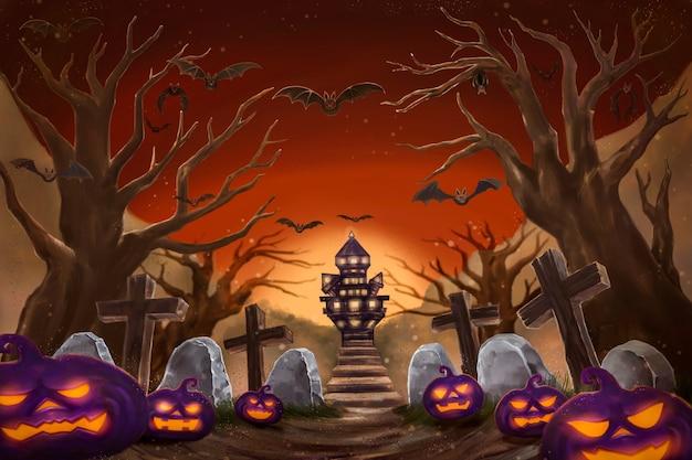 Sfondo di notte di halloween con zucca, casa stregata e luna piena. illustrazione di pittura digitale