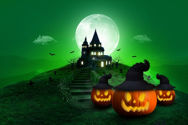 Composizione della luna notturna di halloween con zucche incandescenti castello vintage e pipistrelli che volano in tono verde