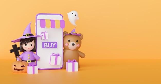Concetto di shopping online di halloween con streghe e fantasmi carini