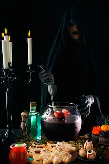 Composizione del cibo per la festa di halloween