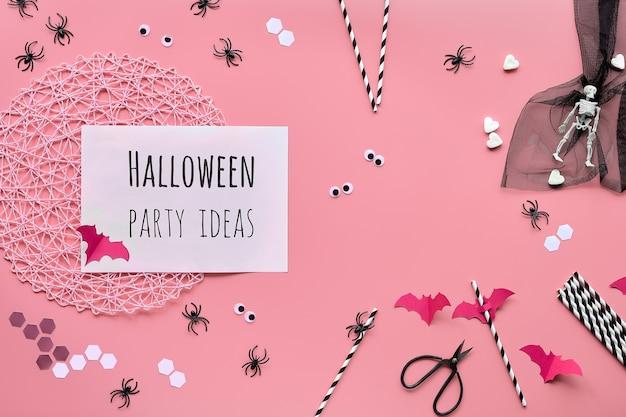Testo di idee festa di halloween sulla pagina bianca.