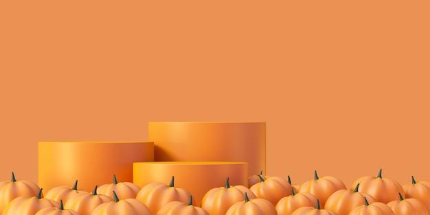 Fondo del modello del prodotto di halloween con l'esposizione del podio del prodotto arancione 3d e la zucca, illustrazione di rendering 3d