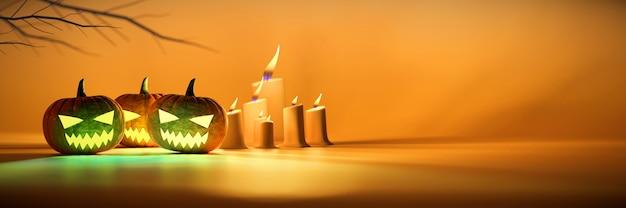Lanterna della zucca di halloween e bokeh soft focus a lume di candela
