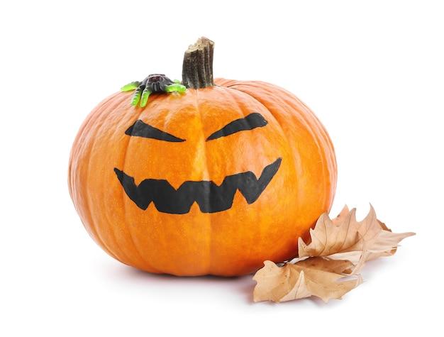 Zucca di halloween sulla superficie bianca