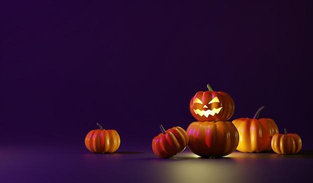 Zucche di halloween nella notte oscura
