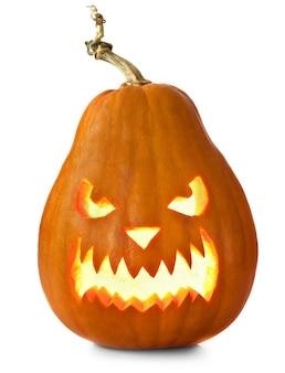 Zucche di halloween isolate su bianco Foto Premium
