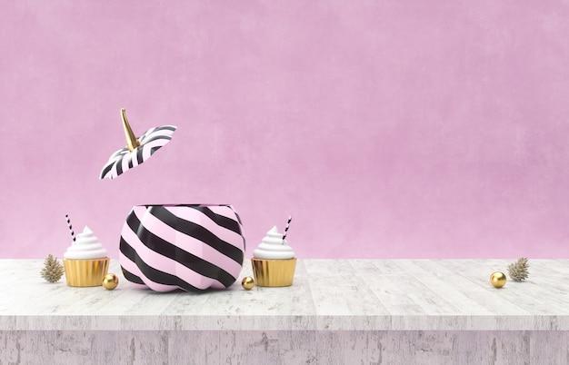 Zucche di halloween sulla tavola di legno rendering 3d del fondo di halloween