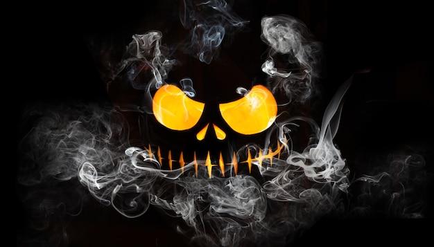 Faccia spaventosa di halloween. bella composizione autunnale per le vacanze.