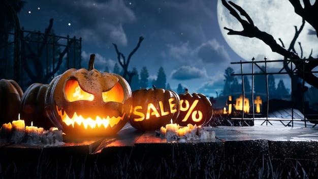 Zucca spaventosa spaventosa di halloween in fiamme intorno alla notte mistica e sconti per le vacanze al cimitero