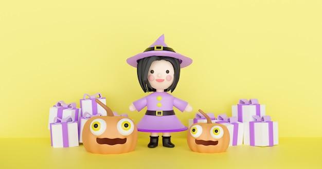 Scena di halloween con simpatico personaggio strega e zucche