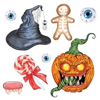 Set di halloween cappello da strega demone zucca dolci e occhi malvagi isolati su sfondo bianco