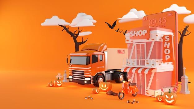 Halloween shopping online e servizio di consegna su applicazione mobile, trasporto o consegna di cibo in scooter, rendering 3d.