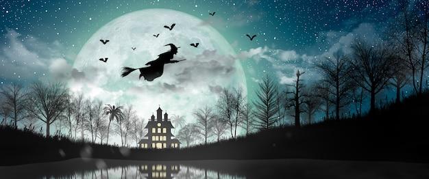 Halloween silhouette di strega che sorvola la luna piena, la casa stregata, i pipistrelli e l'albero morto.