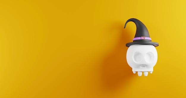 Teschio di halloween spettrale che indossa un'illustrazione di rendering 3d del cappello da strega