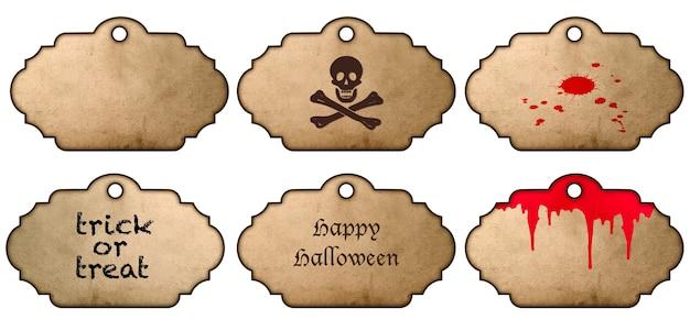 Autoadesivi di halloween isolati su priorità bassa bianca. etichette in stile vintage