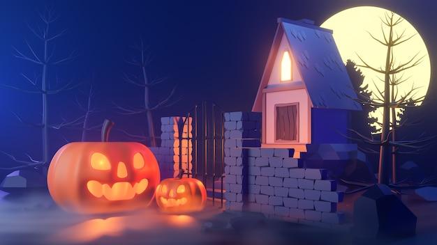 Tema di halloween con zucche e una casa di notte.
