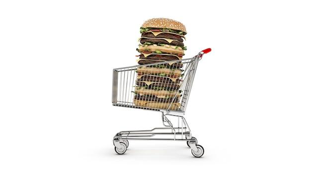 Hamburger con carrello della spesa rendering 3d