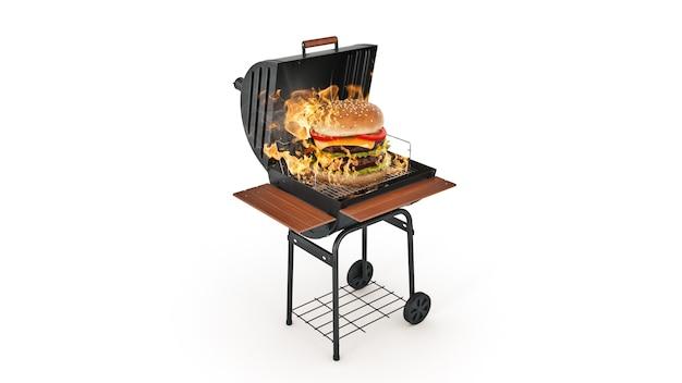 Hamburger che cucinano sulla griglia con il rendering 3d di fiamme
